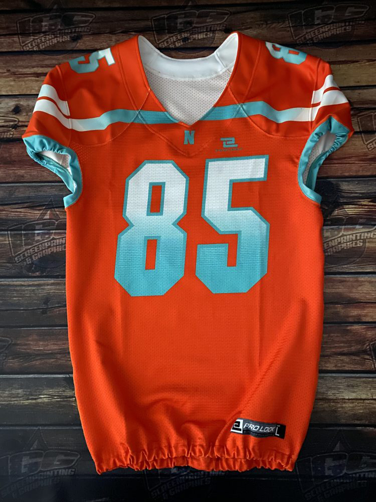 orange and blue jersey printing