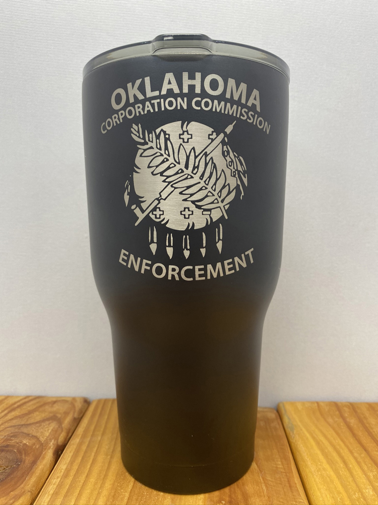 brand engraving on powder coated cup