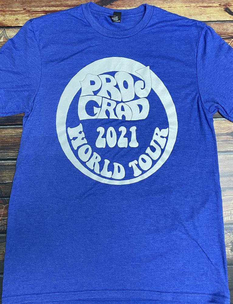 event screen printing on blue shirt